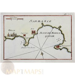 Bay d Alger Barbary old chart by Roux 1764