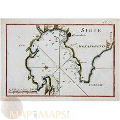 Iskenderun port Alexandretta Turkey old chart Roux 1764