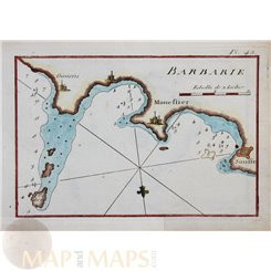 Barbary Coast Tunisia Africa old chart by Roux 1764
