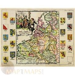 Antique map Seventeen Provinces of the Low Countries by de La Feuille c. 1700