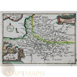 Picardy Amiens area North France antique map by Tassin 1633