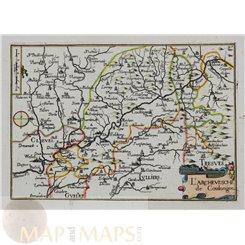 Germany Cologne Dusseldorf Coblenz area antique map by Tassin 1633