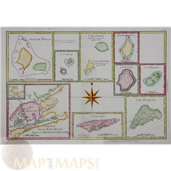New Zealand South Pacific islands old map Bonne 1770