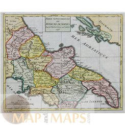 ITALY- KINGDOM OF NAPLES - ANTIQUE MAP BY VAUGONDY 1748