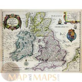 British Islands Ireland Old map Magnae Britanniae by Merian 1638.