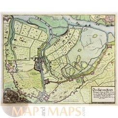 Sas van Gent Dutch Spanish battle plan map Merian 1647