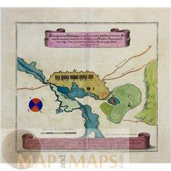 Ottoman battle map Turkish Austrian War Szerencs Hungary Merian 1661