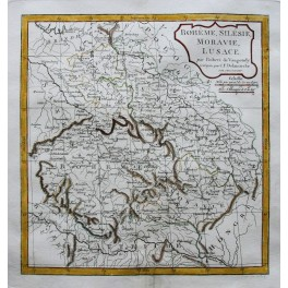 Bohemia Poland Slovakia Czech old map Vaugondy 1810