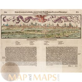 Worms Rhineland-Palatinate Germany antique woodcut Münster 1570