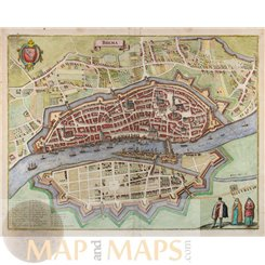 Brema Germany Bremen 17th century town plan by Merian Matthäus 1641