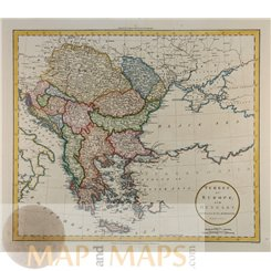 Turkey in Europe Hungary South East Europe Map by Russell 1801