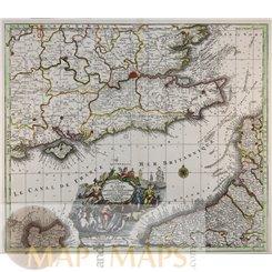 Cotes d'Angleterre et celles de France Seutter map 1730   MapandMaps