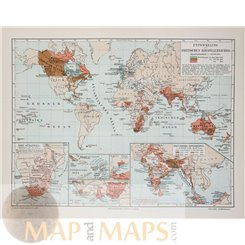 Antique Old Map of the British colonial empire 1905