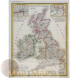 British Isles Ireland Scotland London Plymouth original old map Heck 1842