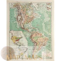 ANTIQUE MAP AMERICA MEYERS 1905.