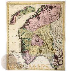 Norway antique map, Norvegia Regnum Divisum- Danckerts 1696