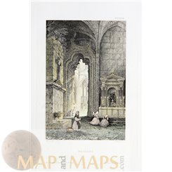 Monastery of Batalha Old print Portugal by Meyer 1838