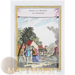 OLD PRINT CLOTHING AND VILLAGE OF THE FLORIDIANS FLORIDA AMERICA ROSSI 1763