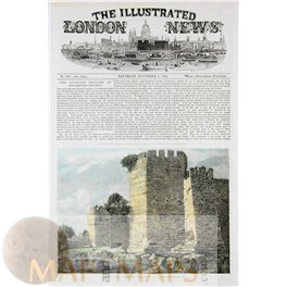 Constantinople The Seven Towers Old print Yedikule Fortress 1856