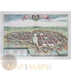 Nanceium – Nancy France, Old map Merian 1638.