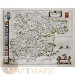Essexia Comitatus. antique map of Essex by Blaeu 1646