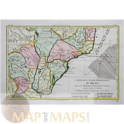 Southern Brazil Antique Old Map of by Bonne 1778