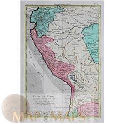 Peru, Early map Carte Du Perou by Bonne 1778