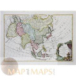 L'Asie divisee en ses principaux etats par le Sr Old map Janvier 1775