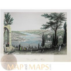 The Golden Horn Constantinople Istanbul old print 1865