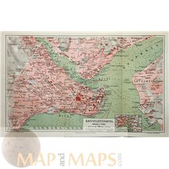 Constantinople Antique Old Map Istanbul Turkey 1905