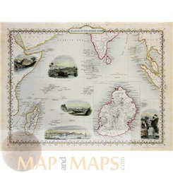 Islands in the Indian Ocean Old map Tallis 1851