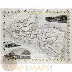 Central America Old map Guatemala, Honduras Tallis 1851