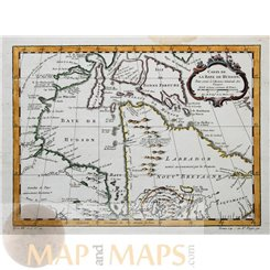 Canada Hudson Bay Historical antique map by Bellin 1752.