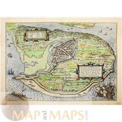 Brielle (Den Briel) Städte Europas von Braun & Hogenberg 1575