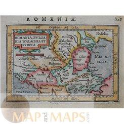 Romania Bulgaria Walachia et Syrfia. Ortelius Old Map1598