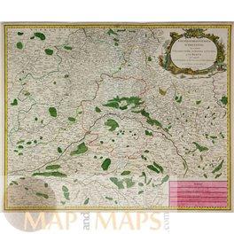 1754 BELGIUM MAP, WALLONIE, WALLONNE, ROBER DE VAUGONDY