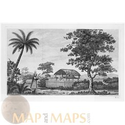 A burial structure of Otaheite Old engraving Tahiti Voyage Cook 1767