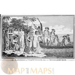 ANTIQUE PRINT LANDING OF CAPT COOK AT MIDDLEBURGH TONGO COOK'S VOYAGE COOK 1784