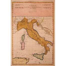 ITALY Sardinia Sicilia Corsica antique map Bonne 1770