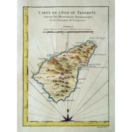 Tenerife Canary Island old map Bellin 1750