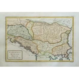 Pannonia Moesia Dacia Illyricum Romenia Serbia old map Cellarius 1796