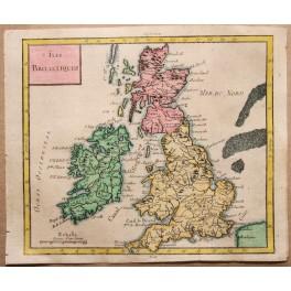 ISLES BRITANNIQUES ENGLAND ENGRAVED MAP VAUGONDY 1750