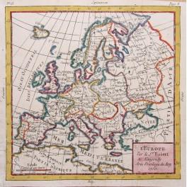 Europe antique map by Vaugondy 1750