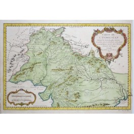 Asia North India Pakistan Afghanistan old antique map by Bellin 1752