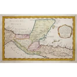Chiapas Mexico Honduras Yucatan Tabasco old antique map by Bellin 1768