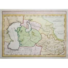 Turkmenistan Kazakhstan Caspian Bukhara old antique map by Bellin 1749