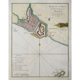 Malaysia Malacca plan old antique map chart by Bellin 1750