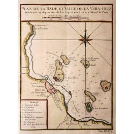 Veracruz, Mexico antique map by Bellin 1754