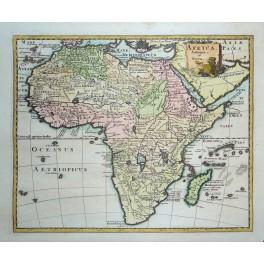 AFRICA ANTIQUA ET NOVA FINE OLD ENGRAVED MAP BY CLUVER 1697.