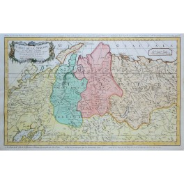 Russia Siberia Journeys to Kantschatka antique engraved map by Bellin1754